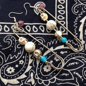 Skull Safety Pin Earrings